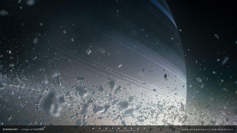 """W pierścieniach Saturna. Źródło: Erik Wernquist """"Wanderers"""""""