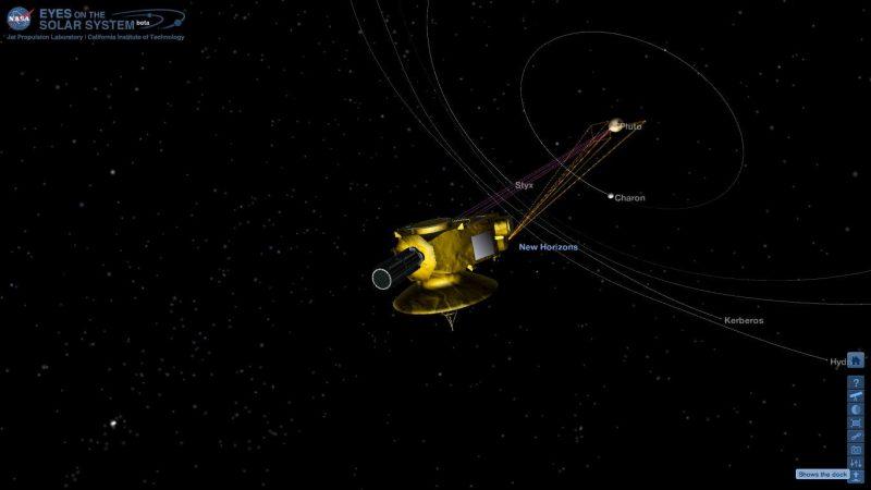 Tak wyglądała sonda New Horizons na 1,5 godziny przed osiągnięciem celu. Fot. eyes.nasa.gov