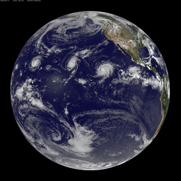 Huragany Kilo, Ignacio i Jimena. Fot. NASA