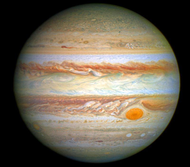 Zdjęcie Jowisza zrobione w 2014 roku przez Teleskop Kosmiczny Hubble'a. Fot. NASA / ESA / A. Simon, Goddard Space Flight Center