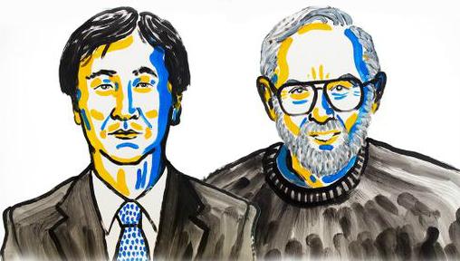 Takaaki Kajita oraz Arthur B. McDonald z zespołu Super-Kamiokande w Japonii. Rys. NobelPrize.org