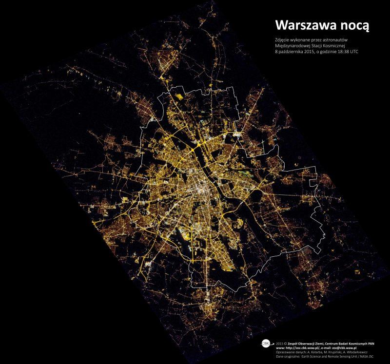 Zdjęcie Warszawy z Międzynarodowej Stacji Kosmicznej. FOt. NASA, opracowanie Zespół Obserwacji Ziemi CBN PAN