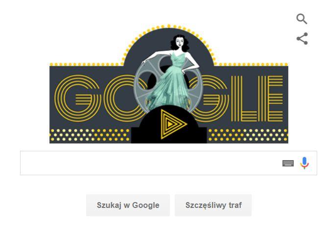 Hedy Lamarr w Google doodle. Rys. Google