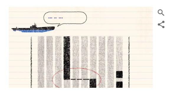 Fragment Google doodle poświęconego Hedy Lamarr. Rys. Google