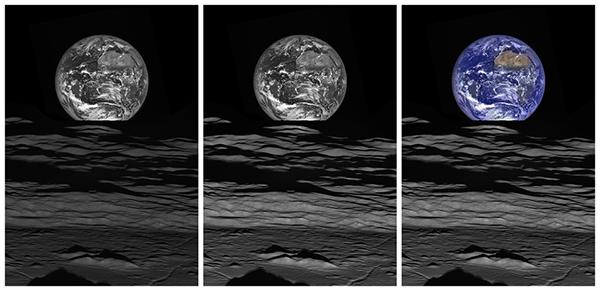 Ziemia widoczna znad powierzchni Księżyca. Fot. NASA/GSFC/ASU