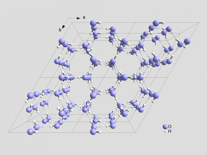 Cząsteczkowa struktura kryształu lodu. Niebieskie kule to tlen, białe – wodór. Linie przerywane to wiązania wodorowe. Widać sześciokątną symetrię kryształu wody. Rys. Solid State