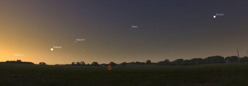Pięć planet widocznych obok siebie na niebie. Obraz z programu Stellarium