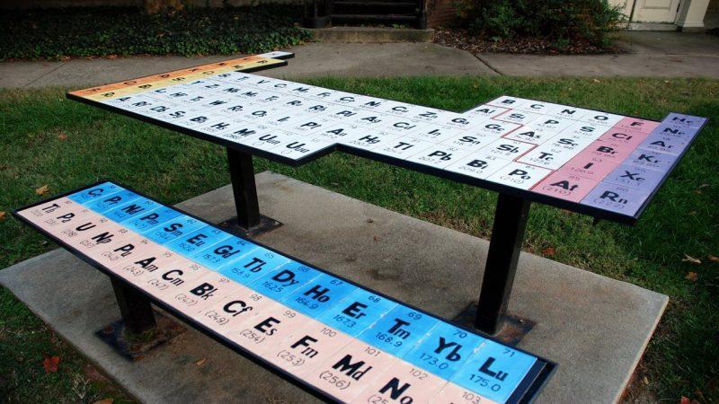 W 2003 roku Nazila Alimohammadi i Anna Clark, studenci Wake Forest University, zbudowali ten stół piknikowy w układem okresowym pierwiastków. Fot. Wake Forest University