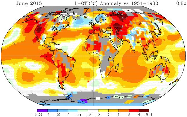 Średnie odchylenie temperatury czerwca 2015 w porównaniu do czerwców 1951-1980. Fot. NASA