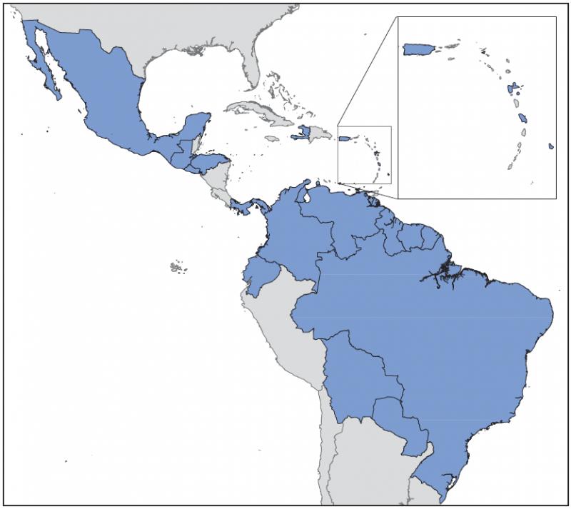 Obszar Ameryk, w którym stwierdzono przypadki zakażenia wirusem Zika. Rys. CDC