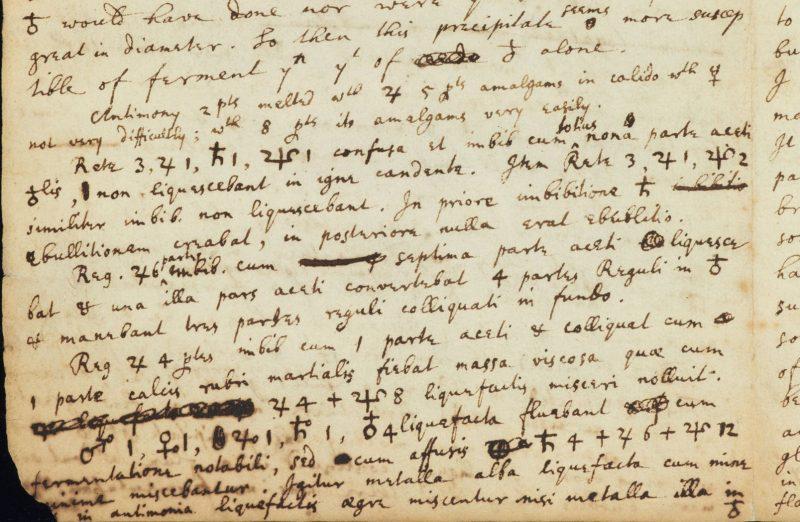 Fragment alchemicznego manuskryptu Newtona znajdującego się w bibliotece Cambridge University
