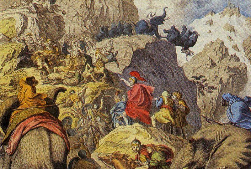 Hannibal przekracza Alpy podczas drugiej wojny punickiej. Źródło: Wikimedia