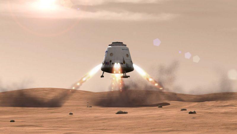 Tak ma wyglądać lądowanie statku Dragon V2 na Marsie. Źródło: SpaceX