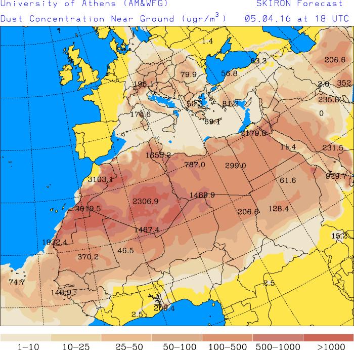 Pył nad Europą 5 kwietnia 2016. Źródło: Uniwersytet Narodowy im. Kapodistriasa w Atenach