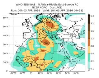 Prognoza pyłowa dla Europy 3 kwietnia 2016. Źródło: World Meteorological Organization