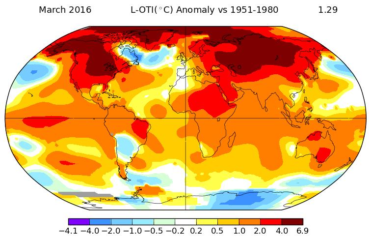 Anomalie temperatur na Ziemi w marcu 2016. Źródło: NASA GISS