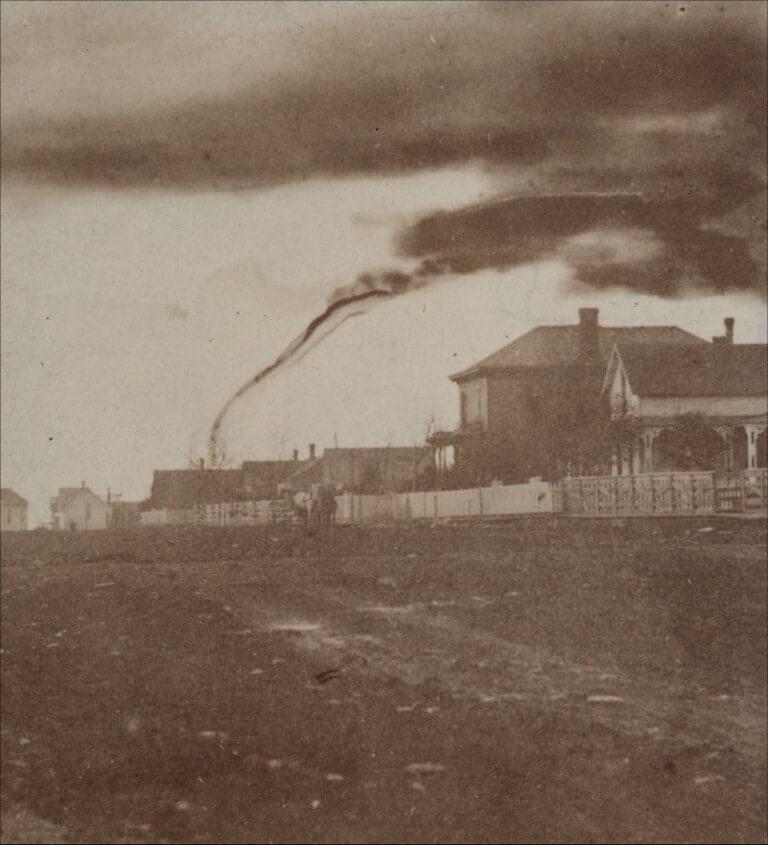 Tornado w Kansas w 1884 roku. Źródło: Kansas Historical Society