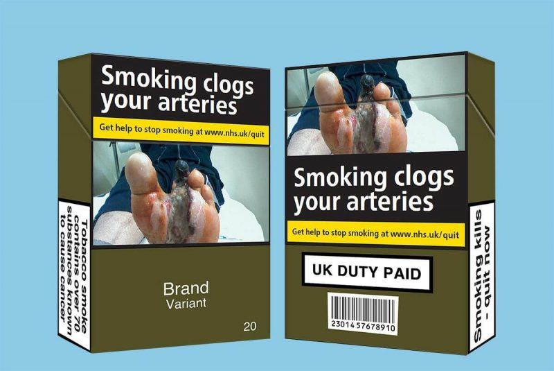 Projekt paczek papierosów wykorzystujących najbrzydszy kolor świata. Rys. ASH/PA