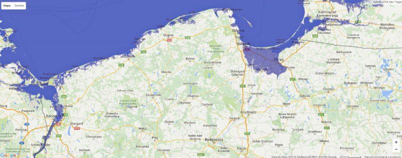 Północna część Polski po podniesieniu się poziomu morza o 1 m. Źródło: http://flood.firetree.net/