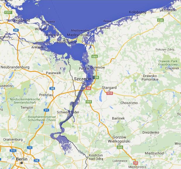 Nizina Szczecińska i dolina Odry po podniesieniu się poziomu mórz o dwa metry. Źródło: http://flood.firetree.net/