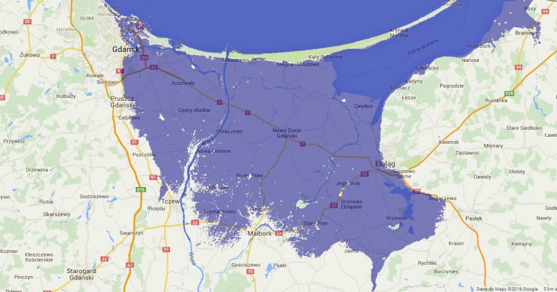 Żuławy i Gdańsk po podniesieniu się poziomu mórz o dwa metry. Źródło: http://flood.firetree.net/