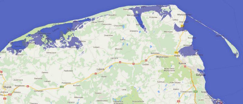 Pomorze i Półwysep Helski po podniesieniu się poziomu mórz o dwa metry. Źródło: http://flood.firetree.net/