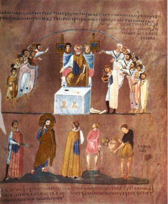 Ewangelie z Rossano: Chrystus przed Piłatem. Źródło: Wikimedia
