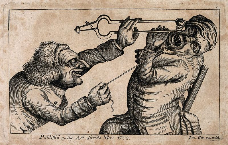 A_sadistic_tooth-drawer_frightening_his_patient_with_a_hot_c_Wellcome_V0012042