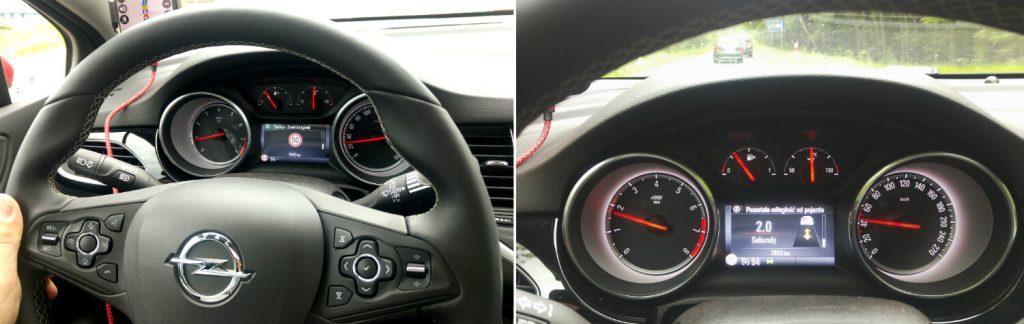 Z lewej OpelEye infomuje o ograniczeniu prędkości. Z prawej - o odległości od jadącego przed nami samochodu. Fot. Crazy Nauka