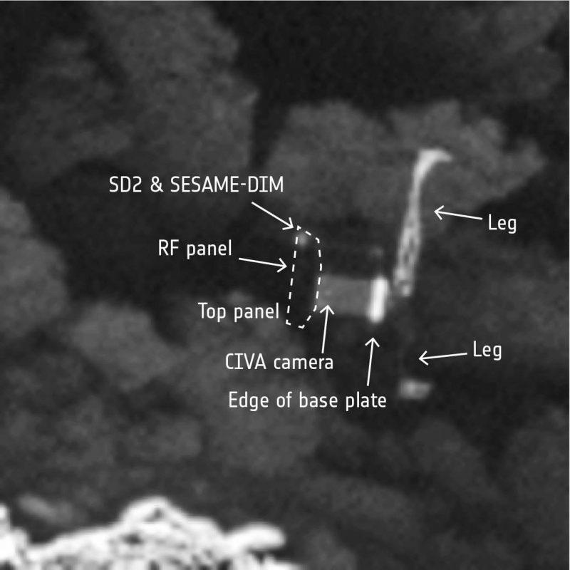 Szczegóły ułożenia lądownika Philae. Fot. ESA/Rosetta/MPS for OSIRIS Team MPS/UPD/LAM/IAA/SSO/INTA/UPM/DASP/IDA