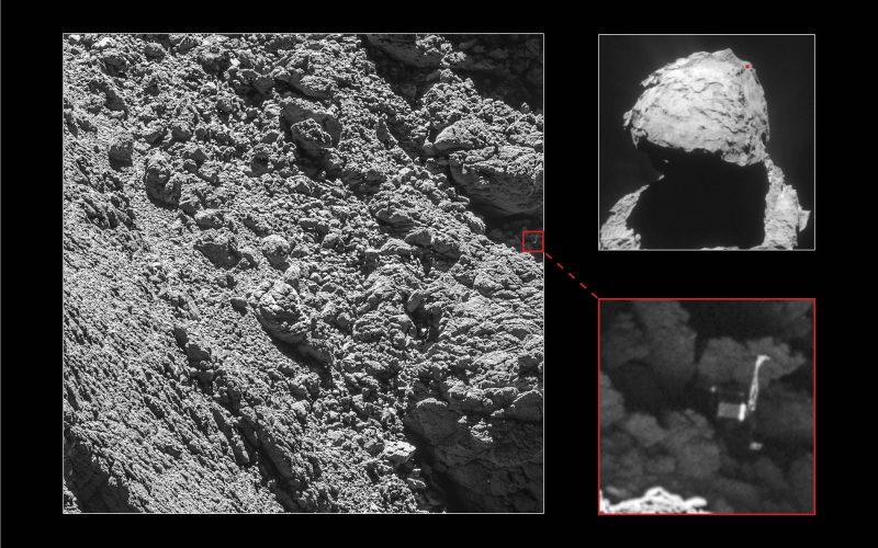 Odnaleziono Philae. Mozaika zdjęć pokazuje punkt, w któym leży lądownik. Fot. ESA/Rosetta/MPS for OSIRIS Team MPS/UPD/LAM/IAA/SSO/INTA/UPM/DASP/IDA
