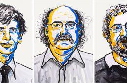 David Thouless, Duncan Haldane i Michael Kosterlitz Rys. Nobel Media