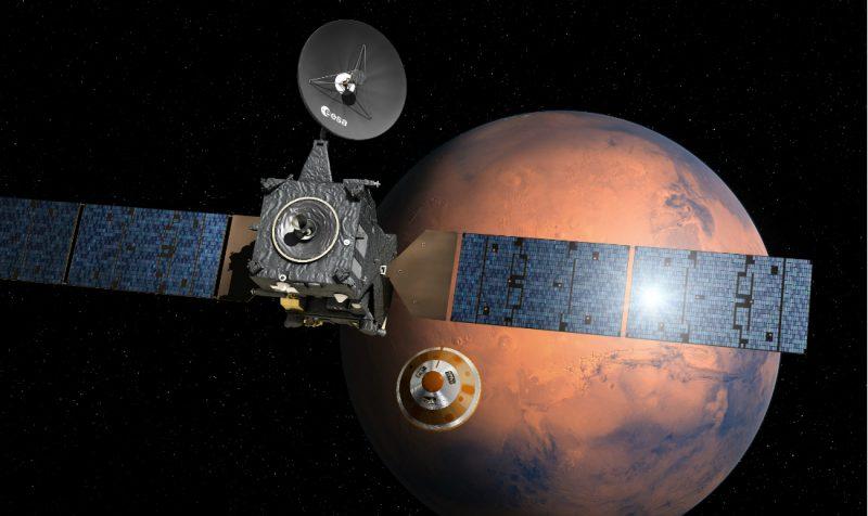 Lądownik Schiaparelli oddziela się od sondy Trace Gas Orbiter. Źródło: ESA–D. Ducros