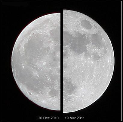 Z lewej widać Księżyc w najdalszym punkcie od Ziemi (w apogeum 20.12.2010), z prawej najbliżej Ziemi (w perygeum 15.03.2011). Fot. Marco Langbroek