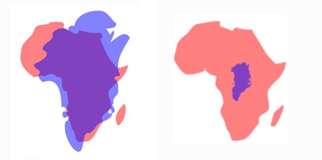 Z lewej Afryka (różowa) i Grenlandia (fioletowa) w odwzorowaniu równikowym. Z prawej - rzeczywiste proporcje obu lądów.