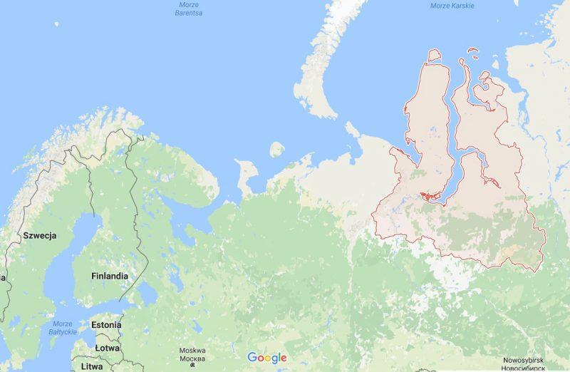 Na czerwono zaznaczony Jamalsko-Nieniecki Okręg Autonomiczny w Rosji. Źródło: Google Maps