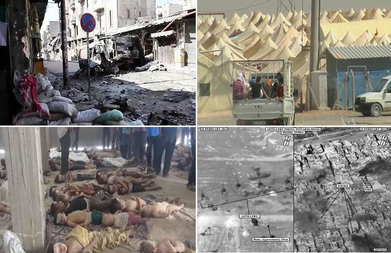 Na górze z lewej: zbombardowane ulice w Aleppo; na górze z prawej: obóz syryjskich uchodźców przy granicy z Turcją; na dole z lewej: ofiary ataku chemicznego w Ghouta; na doole z prawej: ostrzał artyleryjski Homs. To są potwierdzone zdjęcia z Syrii. Fot. Wikimedia