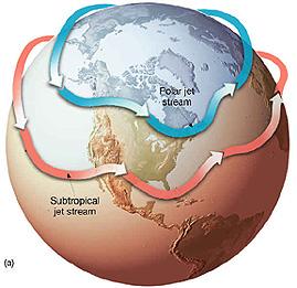 Prąd strumieniowy, który wpływa na pogodę m.in. w Europie i Ameryce Północnej, to ten bliżej bieguna północnego. W strefie podzwrotnikowej rolę tę odgrywa subtropikalny prąd strumieniowy. Źródło: NASA