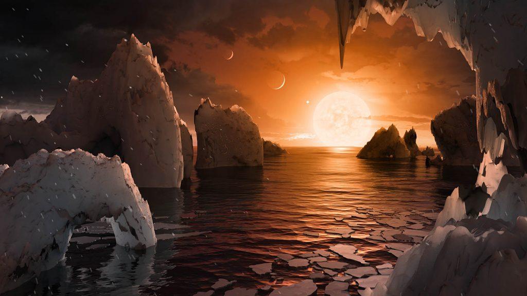 Powierzchnia TRAPPIST-1f. Rys. NASA/JPL-Caltech/T. Pyle (IPAC)