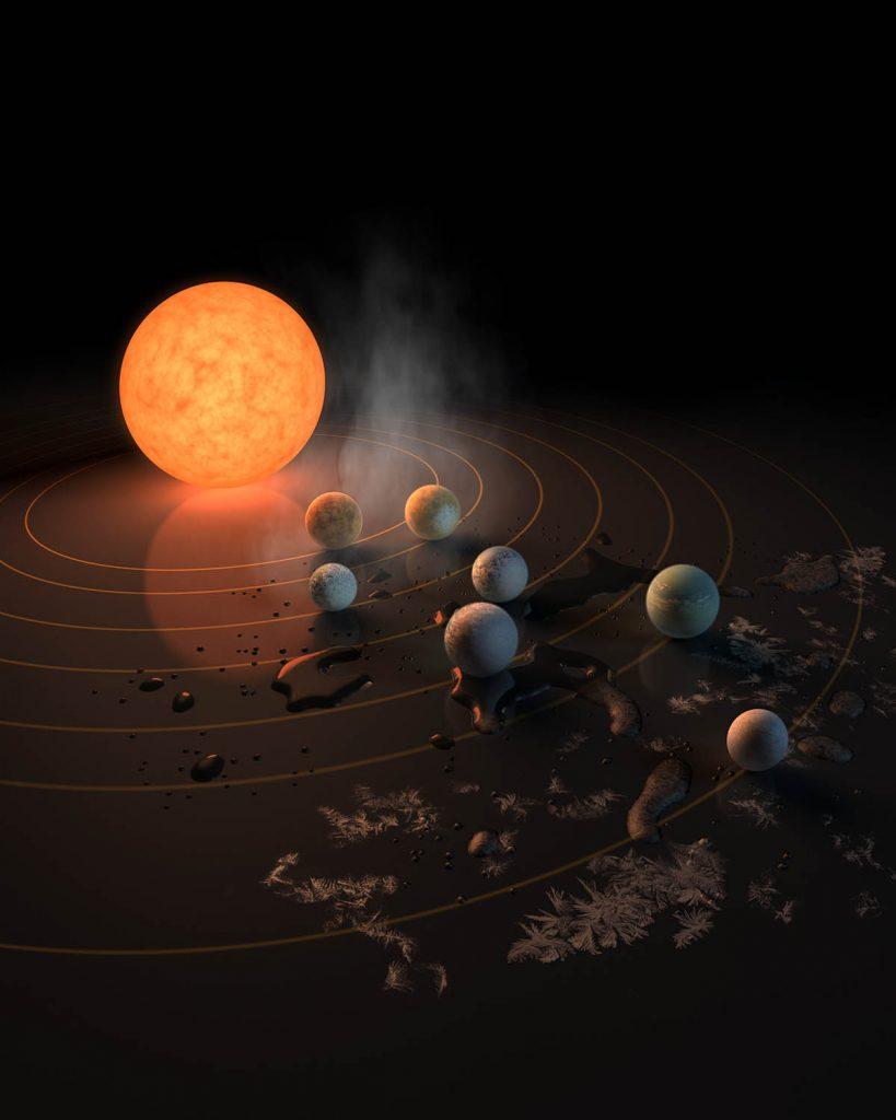 Planetu układu TRAPPIST-1 i szansa na pojawienie się na nich płynnej wody. Rys. NASA/JPL-Caltech/R. Hurt (IPAC)