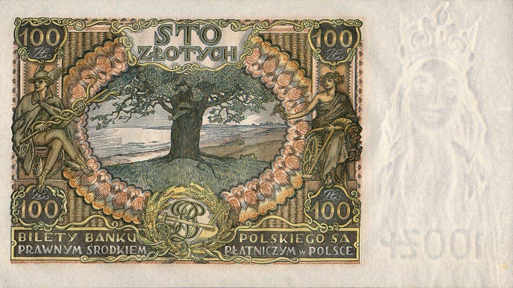 Odwrotna strona banknotu 100-złotowego z 1932 roku z grafiką przedstawiającą dąb