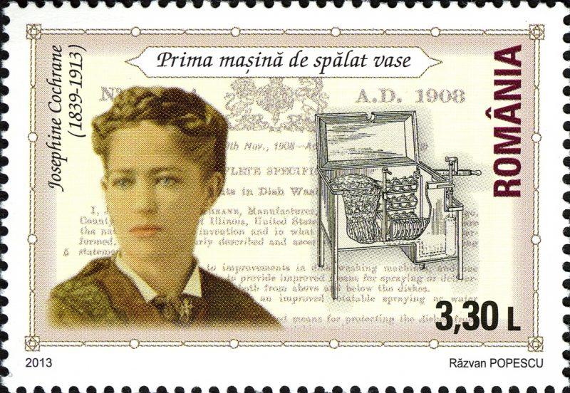 Josephine Cochrane i jej wynalazek na rumuńskim znaczku pocztowym