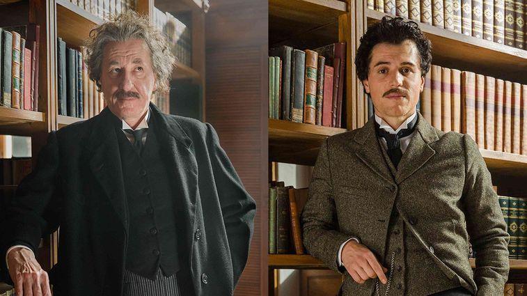 Dwóch filmowych Einsteinów - Geoffrey Rush oraz Johnny Flynn Fot. National Geographic