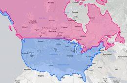 Tak wygląda mapa Ameryki Północnej naniesiona na mapę Europy