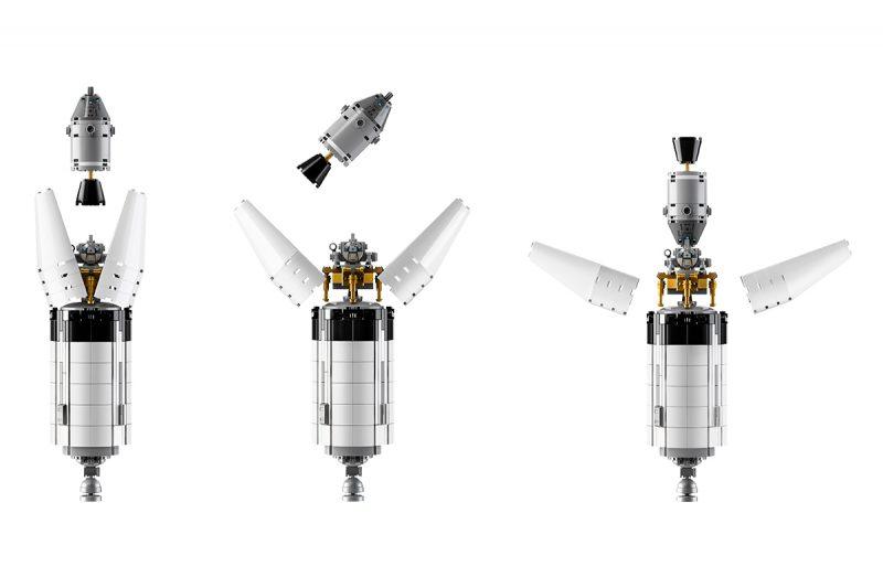 Zestaw LEGO Saturn V - sekwencja zmiany ustawienia modułu księżycowego dokonywane na orbicie