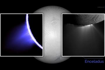 Enceladus i gejzery na jego powierzchni. Fot. NASA