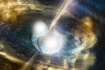 Wizualizacja zderzenia dwóch gwiazd neutornowych. Rys. NSF/LIGO/Sonoma State University/A. Simonnet