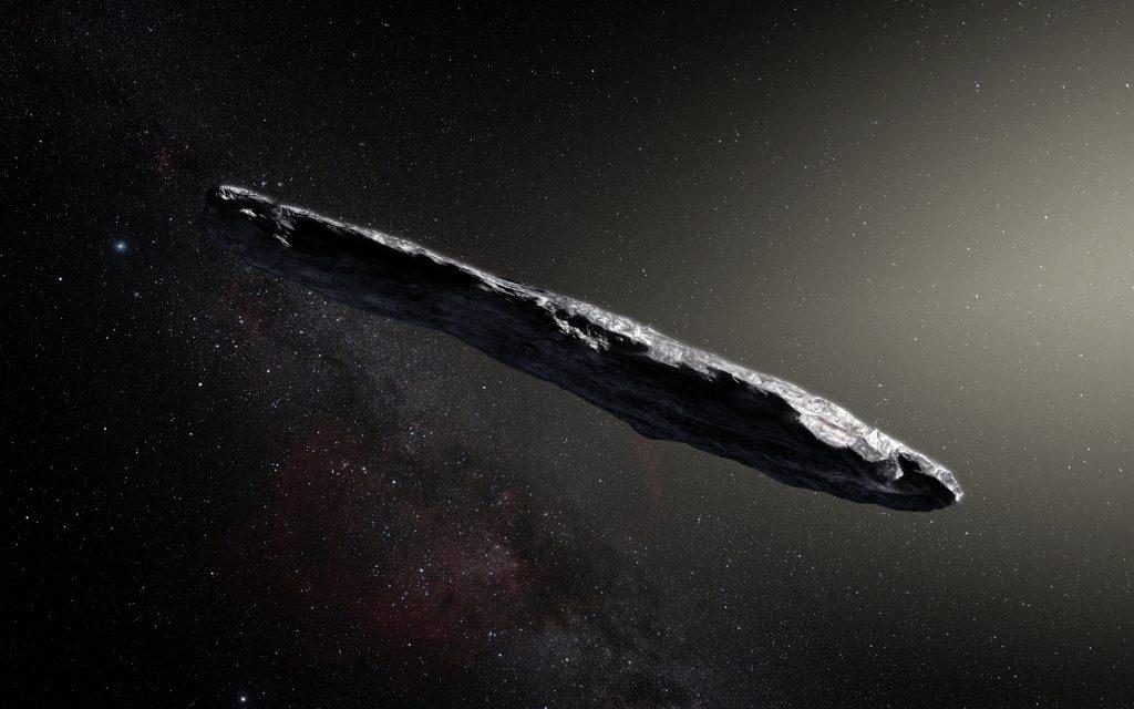 Artystyczna wizja wyglądu międzygwiezdnej asteroidy 1I/2017 U1 ʻOumuamua. Rys. ESO/M. Kornmesser