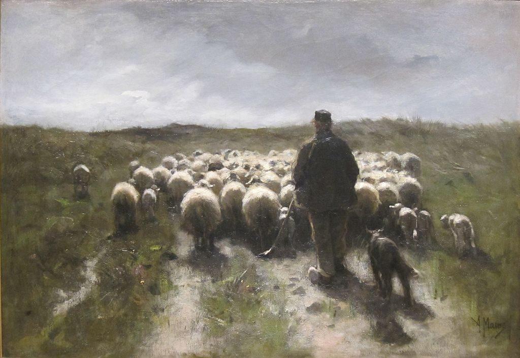 """Pasterz i owce"", obraz Antona Mauve"