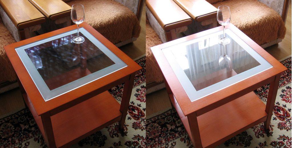 Zdjęcie wykonane z filtrem polaryzacyjnym (po lewej) i bez filtra (po prawej) Fot. Wikimedia
